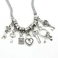 bead making lot - 35pcs Mixed Styles Tibetan Silver Key Lock Love fit Pandora Beads European Charms Bracelets Jewelry Making DIY Handmade
