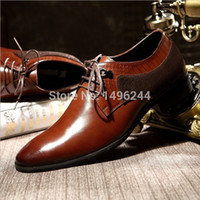 animal hides leather - NEW european style men fashion business dress shoes brand Qshoes real light cow leather lace up men s fashion hidden heel shoe