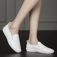 ballet walking - White Real Leather Women Ballet Flats For Girls Ladies Casual Walking Shoes Breathable Slip On Leisure Moccasins Female Loafers