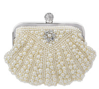 Wholesale Chic Pearls crystal clutch evening bags handmade shell shape pearls Diamond fashion handbags in colors