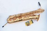 baritone cases - EMS Selmer baritone saxophone straight professional gold Eb Sax mouthpiece with case and accessories