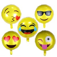 aluminium faces - QQ Expression balloon Smile Face Foil Balloons Inch Smiley Balloon Child Kids Birthday Party Decoration Balls Christmas Gift XL T126