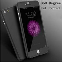 Wholesale 360 Degrees Full Body Plastic Cover Case For iphone7 plus s plus with Free Tempered Glass Film