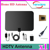 Wholesale 1pcs byone Miles Amplified HDTV Antenna with USB Power Supply and Feet Coaxial Cable White Black YX TX