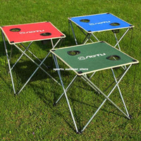 Wholesale 3 Colors Ultra light Outdoor Portable Folding Table Foldable Table Desk for Camping Picnic Travel BBQ Beach Blue Red Green Y0016