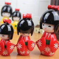 Wholesale ChowDon Designer Japan Kimono Wood Puppets Set Pure Hand Made Cute Home Decor Craft Ornaments Novelty Gifts