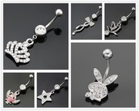 bell bird - 6pcs High quality Medical Steel bird crown rabbit star Bow Crystal Rhinestone Belly Button Ring Dangle Navel Body Jewelry Piercings