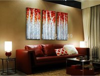 Wholesale 100 handmade large oil painting on canvas red and white tree birch pictures abstract canvas wall art home decors set