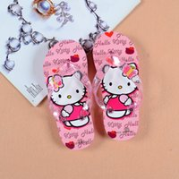 Wholesale Hello kitty cartoon shoes kids summer cute cat slippers flip flops for girl years