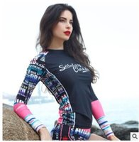 Wholesale Surf clothing Korean female long sleeved wetsuit floating outdoor waterproof sunscreen UV female swimsuit sportswear Sugan