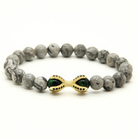 animal eyes pictures - 10pcs Grey Picture Jasper Stone with Tiger Eye Beads Micro Inlay Black CZ Beads Eagle ClawHot Sell European Style Bracelets