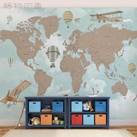 air wallpapers - Gewu Art Vintage aircraft cartoon world map Hot air balloon Children room background kindergarten background
