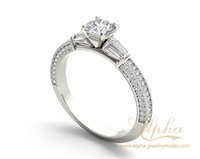 baguette engagement ring - fashion beauty regal design baguette diamond design promising jewelry ring bridal halo engagement destiny ring jewelry BER0547