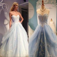 baby wrap sizes - 2017 Baby Blue Prom Dresses Long Formal A Line Sweetheart Neckline Sleeveless Beaded Embroidery Appliques Puffy Tulle Evening Party Gowns