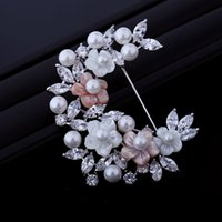 asian flower art - Wedding Jewelry White and Pink Flower Half Wreath Brooch Pearl Shell Clear CZ Leaf Art Deco Cluster Floral Semi Circle Pin Women