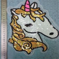 Wholesale Sequins Brand Unicorn Sew On Patches For Clothes Sew on Bmbroidered Patch Motif Applique Deal With It Clothing