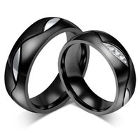 Wholesale Men And Women Couples Band Rings Titanium Steel And Cubic Zirconia mm Width Colors Fashion Biker Jewelry Lovers Gifts