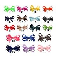 achat en gros de accessoires de fille en vrac-PPCrafts en gros Grosgrain Ruban Fleur Bow clips pour les accessoires de cheveux des filles 10pcs / lots par couleur HA-C010A-2