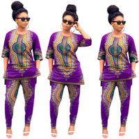 african pants - New Stylish Women Two Pieces Suit African Traditional Fabric Purple Half Sleeve Top and Long Pants Women Casual Streetwear Clothing WE702128