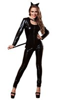 Wholesale New Catwoman Sexy Costume Black Imitation Leather Cosplay Halloween Jumpsuits For Women Club Dancing Clothing Hot Sale