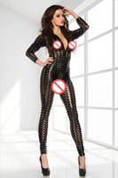 Wholesale Sexy Fetish Metallic D Intricately Crafted PUNK Catsuit Costume Bodysuit Jumpsuit Clubwear Black Gold Silver Colors DT0089