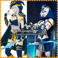 ashe size - Hot Game LOL ashe Cosplay Costume Blue Dress Ashe Cosplay Dress Halloween Costume Custom Made Any Size