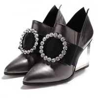 Wholesale Fashion brand wedges Transparent heel rhinestone buckle design women pumps genuine leather high heel mixed colors party shoes
