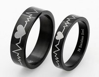Wholesale New products listed Stainless steel loving heart black color Couple Rings lovers jewelry