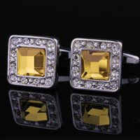 Wholesale Jewelry Hot New Classic Shirt Cufflinks For Mens Brand Yellow Crystal Cuff Links High Quality Square Wedding Gift X