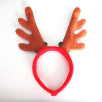 Wholesale Hottest selling Christmas decorations Christmas red antlers Santa Claus rides head buckle With bells antlers Headbands