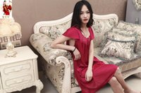Wholesale Women s short sleeved silk sexy night skirt silk pajamas home silk long skirt in spring and summer thin section