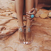 turquoise beads - Bohemian Ethnic Silver Multi Strand Chain Foot Anklet Turquoise Beads Boho Barefoot Ankle Jewelry