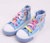 Wholesale new arrival girl casual shoes snow queen elsa anna kid canvas shoes with rainbow ties size