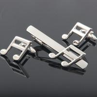 Wholesale High quality Men s Stickpin music notes Tie Clips Cufflinks Set