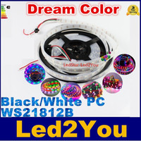 led ic - 5V WS2812b RGB Led Strip Light LEDs m LEDs m Black Or White PCB Waterproof IP67 WS2812 IC Digital Light Dream Color