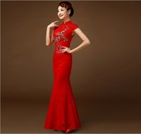 Wholesale RetroStyle Luxury Red Lace Paillette Flowers Women Slim Improved Chinese Long Cheongsam Dress Bridal Dress Party Evening Dress