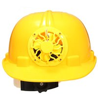 Wholesale 0 W Solar Powered Safety Security Helmet Hard Ventilate Hat Cap with Cooling Cool Fan PE Yellow