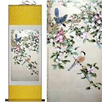 artwork birds - Dragon Art Flowers Birds Decorative Modern Contemporary Artwork Floral Silk Painting on Canvas Wall Art for Home Decor Valentine s Day gift