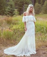 Wholesale 2016 Spring Bohemian Beach Wedding Dresses Sexy Backless Lace Off Shoulder Elegant Sleeves Ivory Chiffon Bridal Gowns Long Train boho Dress