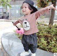 beer tee shirts - Korean Cartoon Boys T shirt Autumn Beer Long Sleeve Children Tee Shirts Cute Cotton Kids Tops Casual Cartoon Bottoming shirt CX346