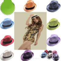 Wholesale New Arrive Cool Men Women Straw Hat Outdoor Soft Panama Caps Summer Stingy Brim Fedora Beach Sun Hats Colors Choose