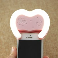 Wholesale Heart LED Smartphone Selfie Photo Light mm Phone Clip for iPhone Plus s Samsung HTC Huawei Xiaomi and for iPad Mini