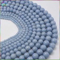 angelite beads - Charm Natural Semi Precious Stone Angelite Anhydrite Celestite Loose Round Beads