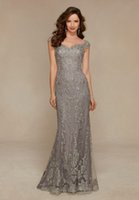 arabic brides - Arabic Silver Elegant Full Lace Sheath Mother s Dresses Off the Shoulder Cap Sleeve Mother of the Bride Dresses For Weddings BA0576