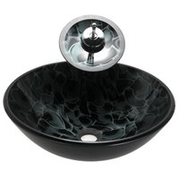 Wholesale 17inch mm Victory Black Wave Tempered Glass Vessel Sink Bathroom Basin Set Inc Waterfall Faucet Pop up Drain Brass Mounting Ring