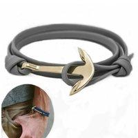 best friendship bracelets - Gold Alloy Multilayer Leather Friendship Anchor Bracelets Women Men Bangles Best Gift