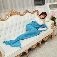Wholesale Sale Mermaid Tail Blanket Sleeper Color Crochet Sea Maid Fish Scales Travel Blankets For Sofa Bed Home Decor Warm Mat
