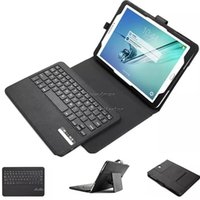 Wholesale Removable Plastic Keyboard with Synthetic Leather Case Bluetooth Kickstand Keyboard for Samsung Tab S2 with retailpackage