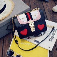 Wholesale Love Tone - Europe and the United States hit color small square bag 2016 handbag autumn new love double-layer packet chain lock single shoulder Messenge