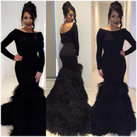 Wholesale Black Backless Feathers Evening Dresses Slim Mermaid Formal Prom Gown Party Dress Special Occasion Custom Made Crew Neck Long Sleeves